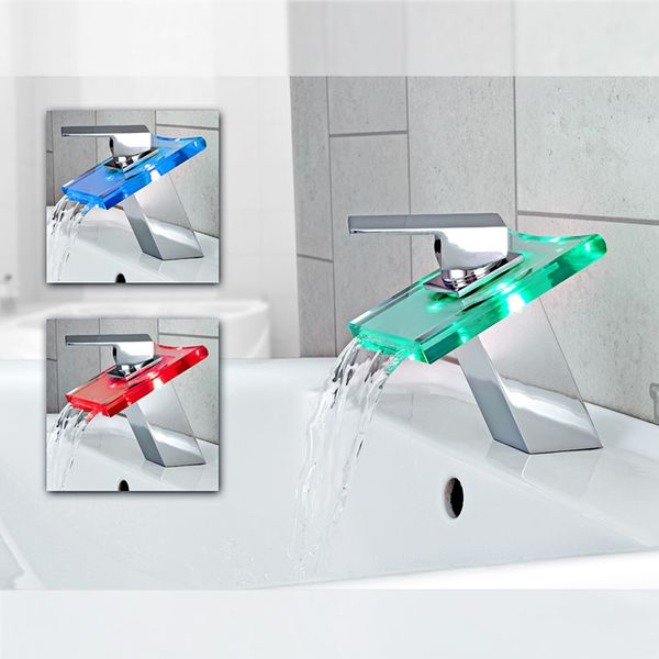 SQUARE WATERFALL FAUCET LED WITH LIGHTS IN 3 COLOURS – Bild 1