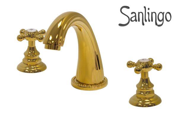 Design Bathroom Wash Basin Bathtub 3 Hole Water Tap Sanlingo Gold – Bild 1