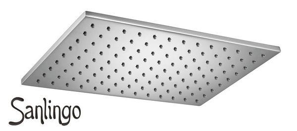 Design Dusche Regenschauer Duschkopf 200 x 300 mm eckig massiv Messing Chrom Sanlingo – Bild 4