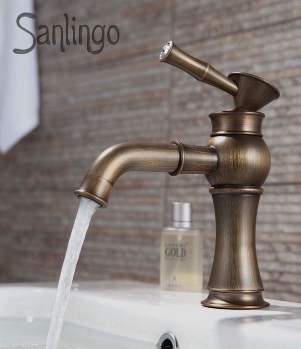 Extraordinary Bathroom Single Lever Tap Glass Crystal Antique Brass Sanlingo – Bild 1