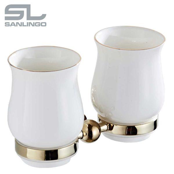Bathroom Two Toothbrush Mug Double Tumbler Beaker Holder Storage Gold Sanlingo – Bild 2
