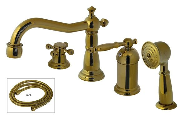 Retro Bathroom 4 Hole Nostalgic Tap Bathtub With Hand Shower Gold – Bild 1