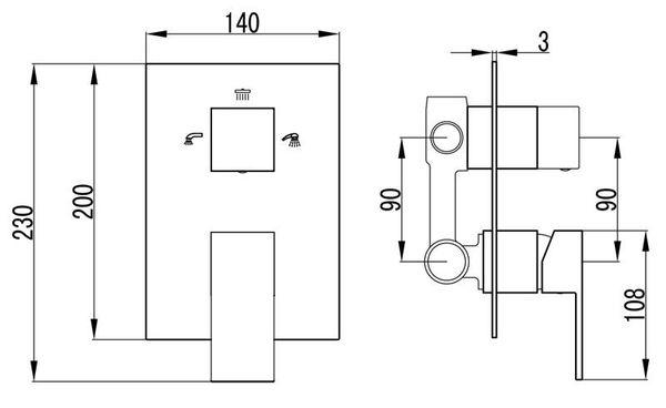 Concealed Bath Shower Bathtub Valve Diverter Tap 3 Way Chrome Sanlingo – Bild 2