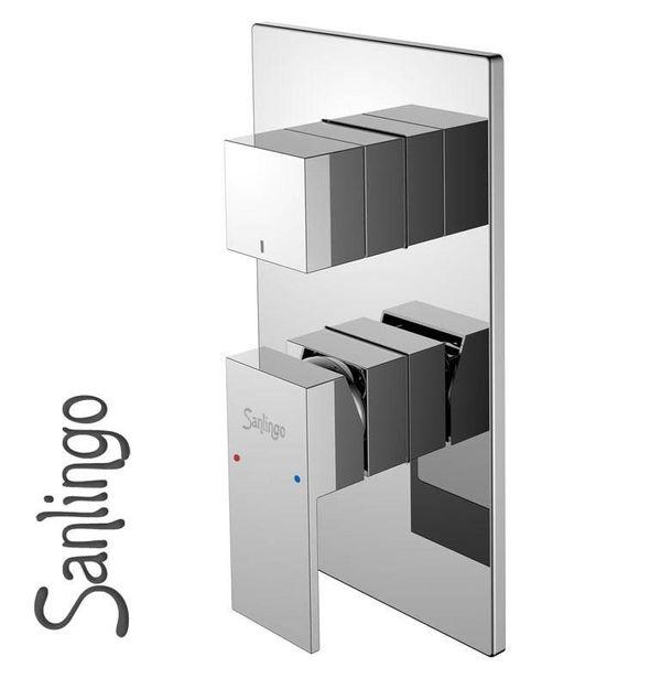 Concealed Bath Shower Bathtub Valve Diverter Tap 3 Way Chrome Sanlingo – Bild 1