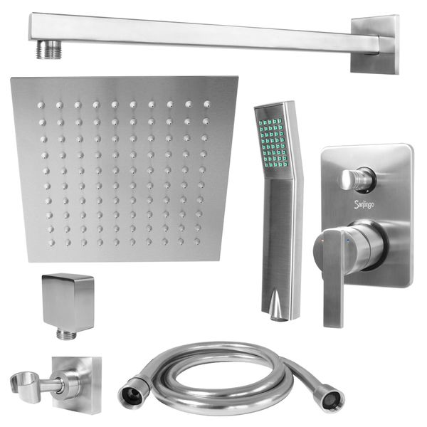 Stainless Steel Concealed Shower Mixer Valve Rainshower Handshower Set Sanlingo – Bild 1