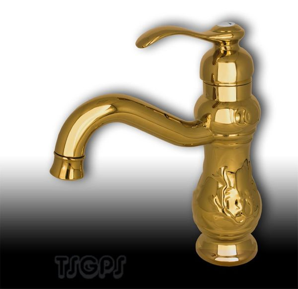Nostalgia Retro Bathroom Basin Wash-bowl Single Lever Tap Mixer Gold – Bild 1
