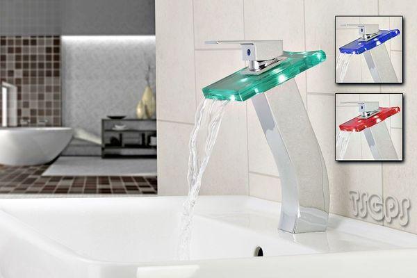 26 cm Hohe Glasarmatur Wasserfall Armatur eckiger Griff LED Technologie – Bild 1