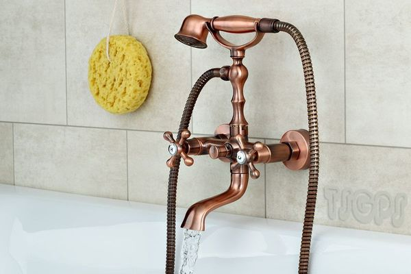 Luxury Cross Nostalgia Retro Star knob Bath Armature Faucet Mixer Series Beatrix Red Bronze