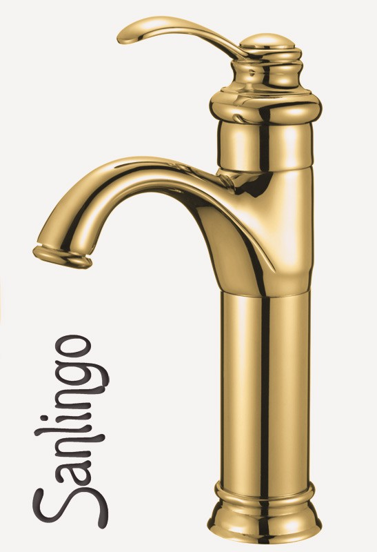 Retro Bath Wash Basin Bowl Single lever Tap Mixer Gold Sanlingo – Bild 1
