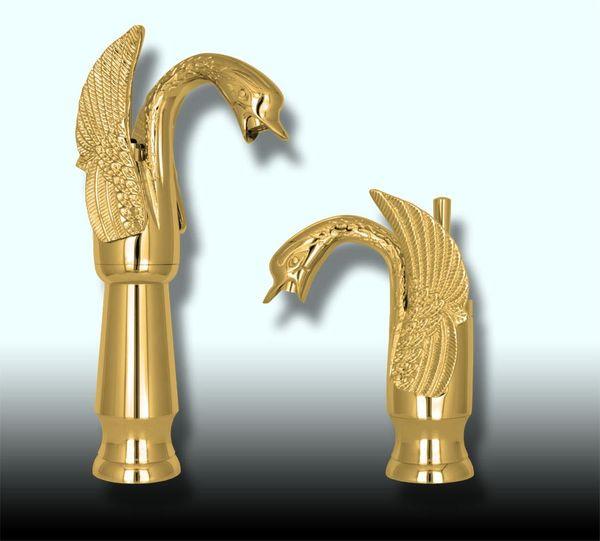 Romantisch Nostalgisch Retro Bad Waschbecken Einhebel Wasserhahn Armatur Schwan Gold