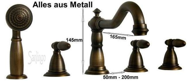 Nostalgia Retro Vintage 5 Hole Tap Armature Bathtub Sanlingo Antique Brass