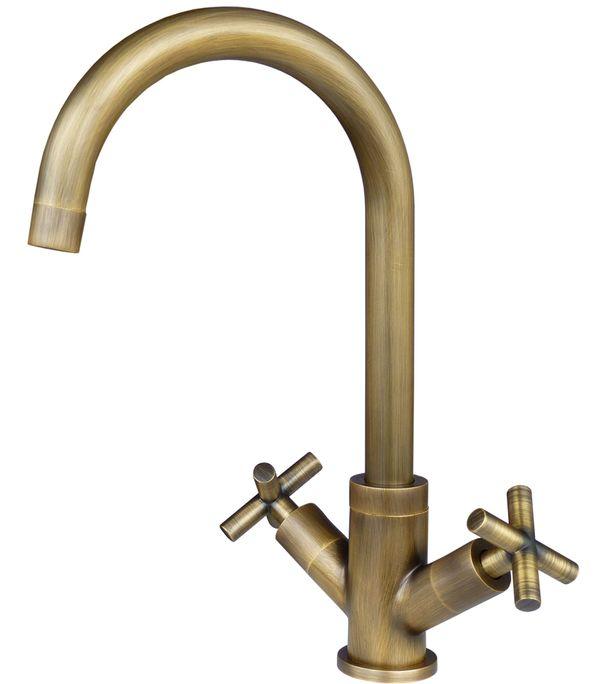 Kitchen Sink Mixer Design Armature Faucet Cross head Antique Brass Sanlingo – Bild 1