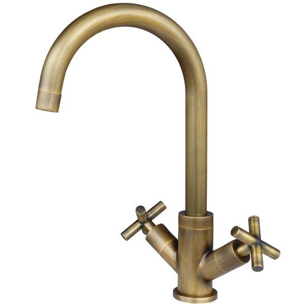Kitchen Sink Mixer Design Armature Faucet Cross head Antique Brass Sanlingo – Bild 2