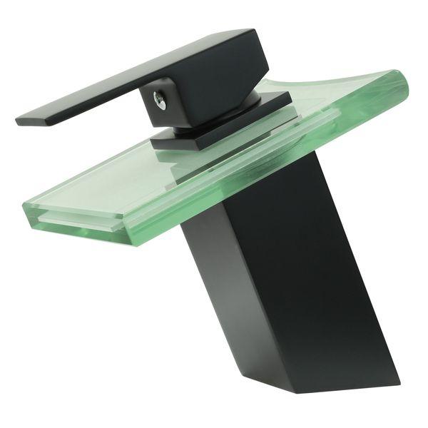 Design Bath Basin Single Lever Glass Waterfall Tap Black Matt Sanlingo – Bild 2