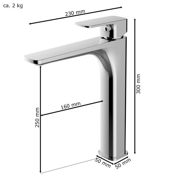 Waschschale Waschtischarmatur Armatur Wasserhahn Mischbatterie Einhebelmischer Chrom Sanlingo Serie DINA – Bild 3