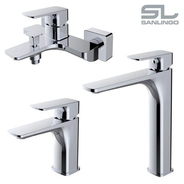 Waschschale Waschtischarmatur Armatur Wasserhahn Mischbatterie Einhebelmischer Chrom Sanlingo Serie DINA – Bild 5