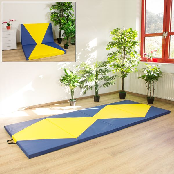 Weichbodenmatte Gymnastikmatte Turnmatte Bodenmatte Klappmatte Blau Gelb 300 x 120 cm Kingpower – Bild 2