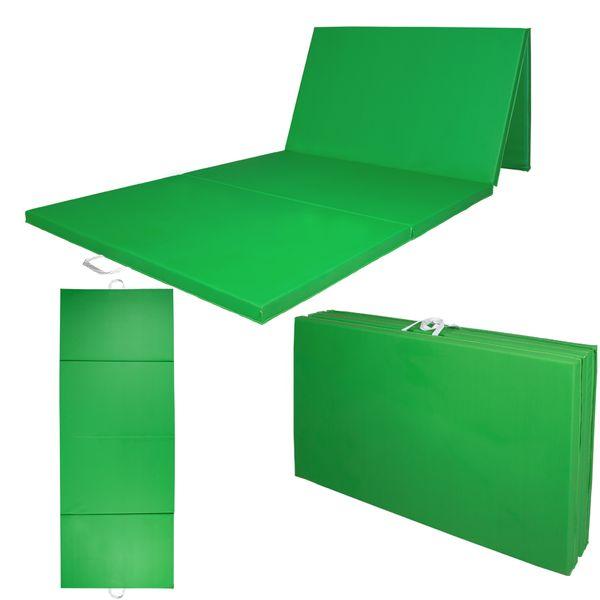 Weichbodenmatte Gymnastikmatte Turnmatte Bodenmatte Klappmatte Grün 300 x 120 cm Kingpower – Bild 3