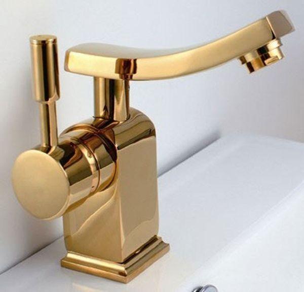 Design Modern Einhebel Armatur Waschbecken Gold Sanlingo