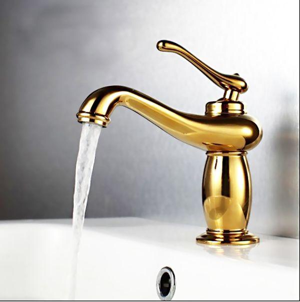 Retro Bad Waschbecken Einhebel Armatur Gold Sanlingo – Bild 2