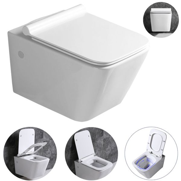 Wall Hung Mounted Toilet Pan without Rim with Soft Close Seat Toilet Lid Bathroom WC Rectangular Sanlingo – Bild 2