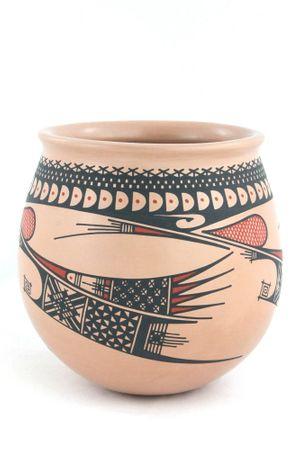 Terra Keramikvase im präkolumbianischen Stil mit großer runder Öffnung