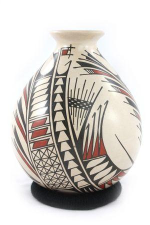 Beige Keramikvase im präkolumbianischen Stil mit abstehender runder Öffnung