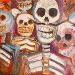 "Miguel Valverde ""La familia"" 20 x 20 cm Ölmalerei auf Leinen gemalt UNIKAT!"