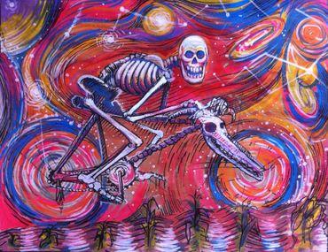 "Miguel Valverde ""El Viaje"" 28 x 22 cm Acrylmalerei auf Papier UNIKAT"