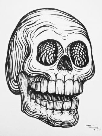 """Miguel Valverde """"Calaca Sonriente"""" 30 x 20 cm Tintenmalerei auf Papier UNIKAT"""