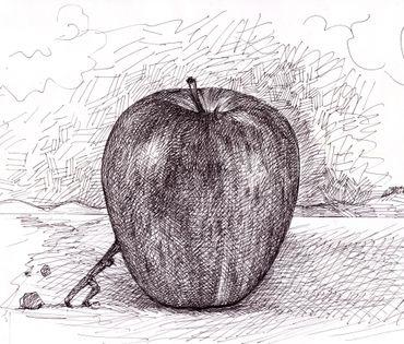 "Miguel Valverde ""Manzana"" 28 x 22 cm Tintenmalerei auf Papier gemalt UNIKAT!"