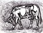 """Miguel Valverde """"Toro"""" 24 x 18 cm Tintenmalerei auf Papier gemalt UNIKAT!"""