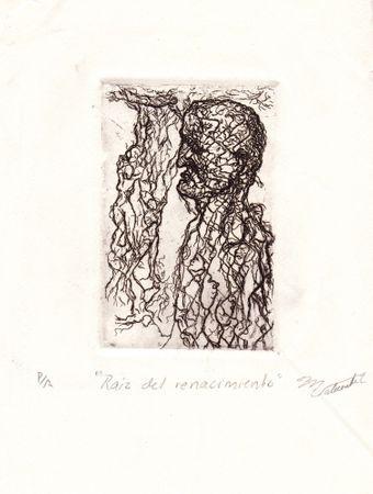 "Miguel Valverde ""Raices del renacimiento"" 24 x 38 cm Tintenmalerei auf Papier gemalt UNIKAT!"