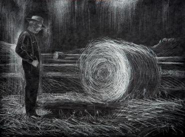 """Miguel Valverde """"Amanecer"""" 50 x 35 cm Bleistiftmalerei auf Papier gemalt UNIKAT!"""