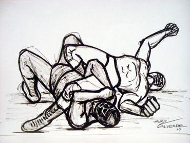 "Miguel Valverde ""Dos segundos"" 34 x 24 cm Tintenmalerei auf Papier gemalt UNIKAT!"