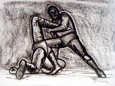 "Miguel Valverde ""La rendición"" 34 x 24 cm Kohlestiftmalerei auf Papier gemalt UNIKAT!"