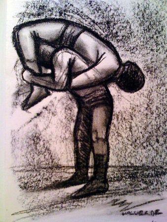 "Miguel Valverde ""La Gori"" 23 x 33 cm Kohlestiftmalerei auf Papier gemalt UNIKAT!"