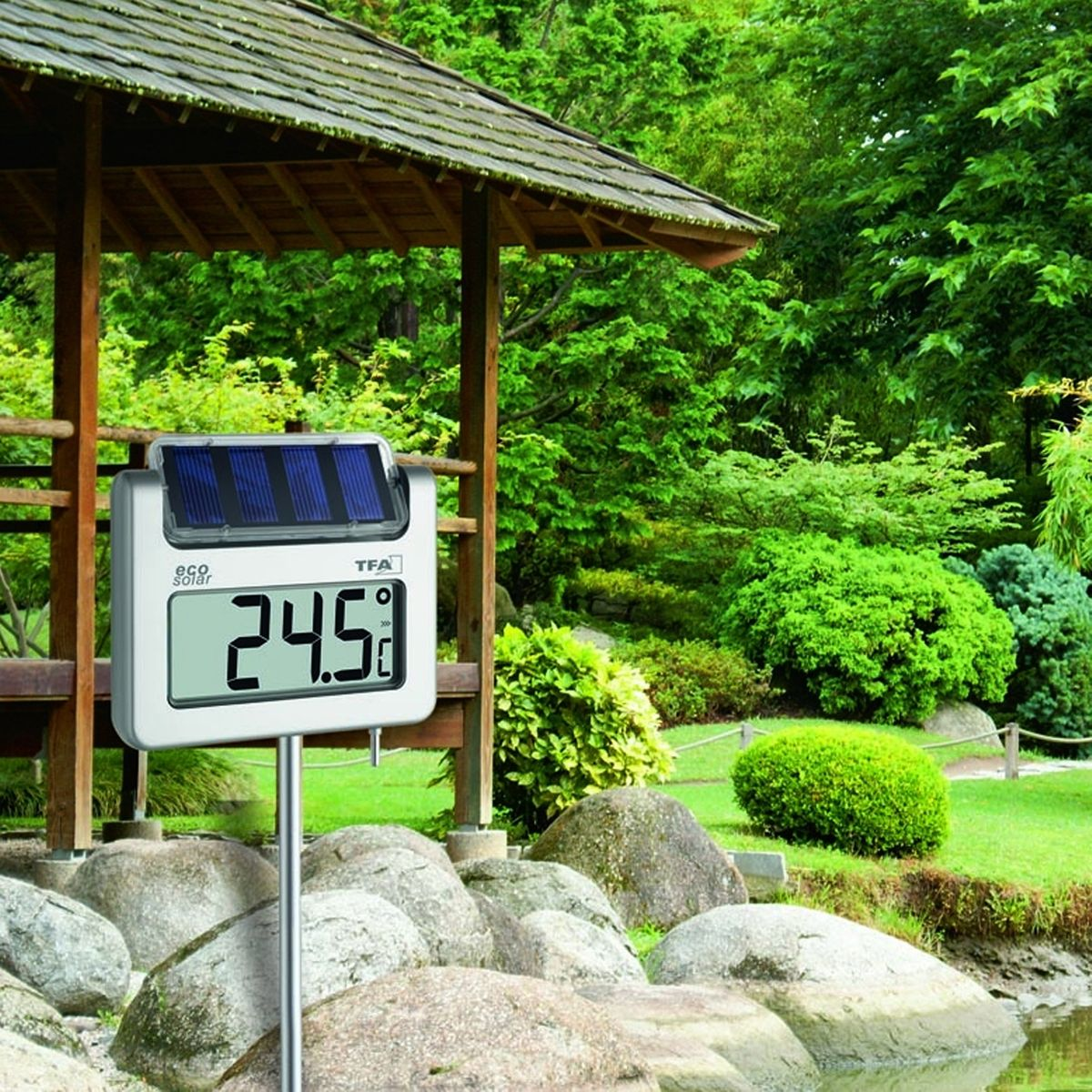 solar garten thermometer digital beleuchtung aluminium stab zum stecken. Black Bedroom Furniture Sets. Home Design Ideas