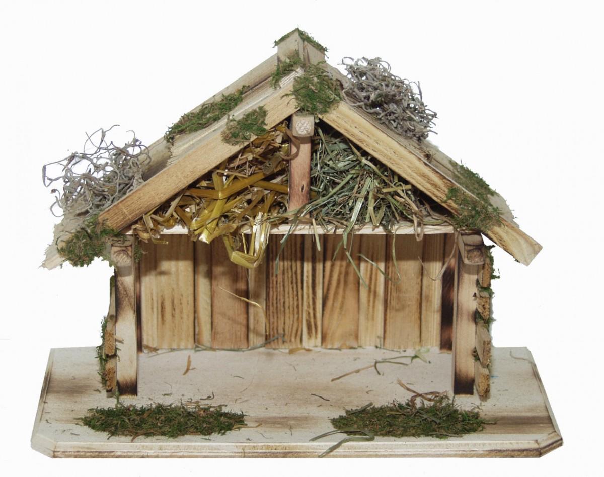 krippe weihnachtskrippe stall efrata l holz handarbeit f r figuren bis 12 cm. Black Bedroom Furniture Sets. Home Design Ideas