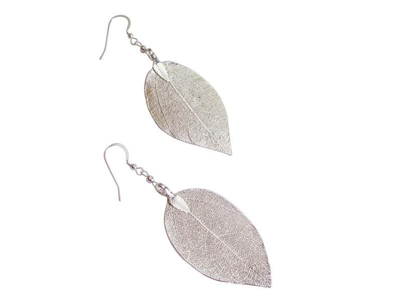 925 Silber Hänger Einhänger Brisuren Ohrringe Ohrhänger Blatt Blätter Damen