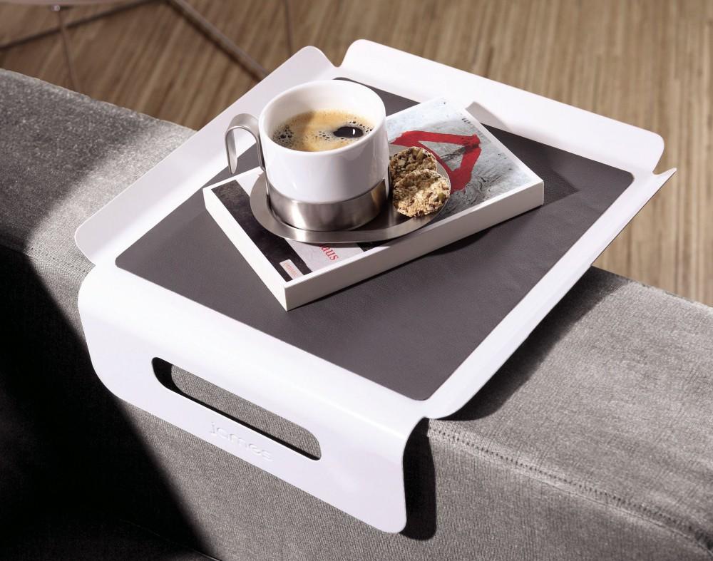 sofa-butler sofatablett james weiß / grau armlehne organizer sofa ablage