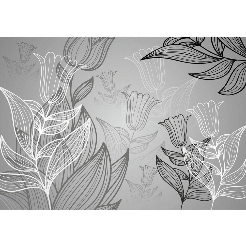 Fototapete Tulpen Blumen Blumenranke weiß grau Natur Pflanze liwwing no 98