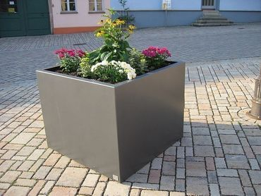 Edelstahl-Pflanzkübel Cubus classic 600x600x600 inkl. Rollen