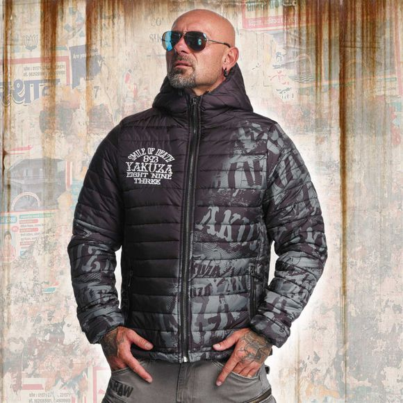 Allover Label Quilted Kapuzenjacke