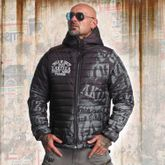 Allover Label Quilted Hooded Jacket