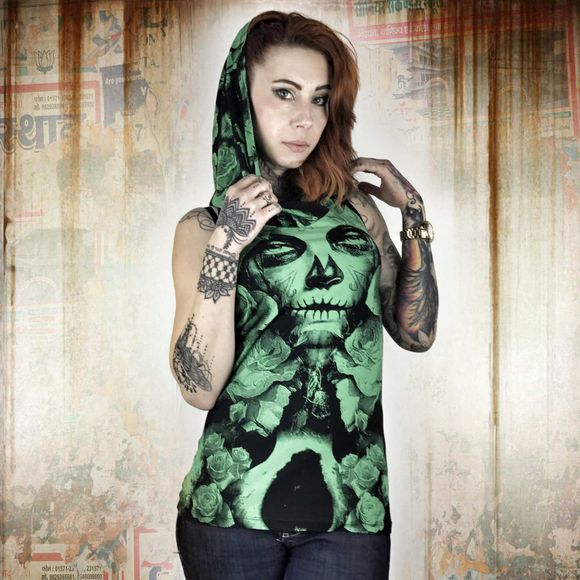 Mexican Rose Hooded Tank