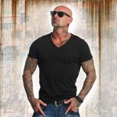 Basic Line Distressed V-Neck T-Shirt