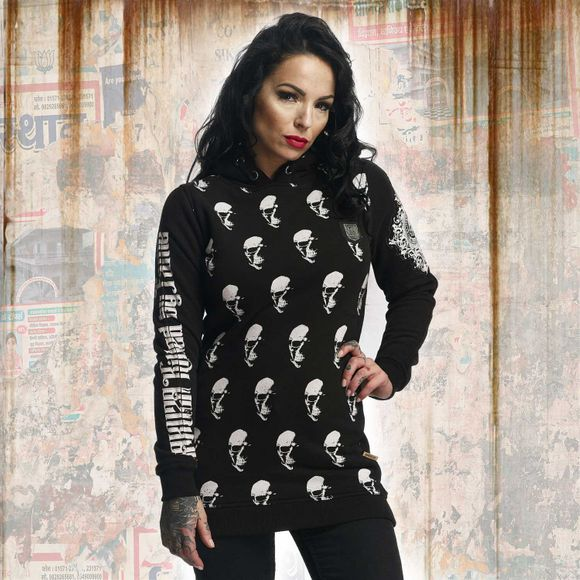 Allover Skull Flex Long Hoodie