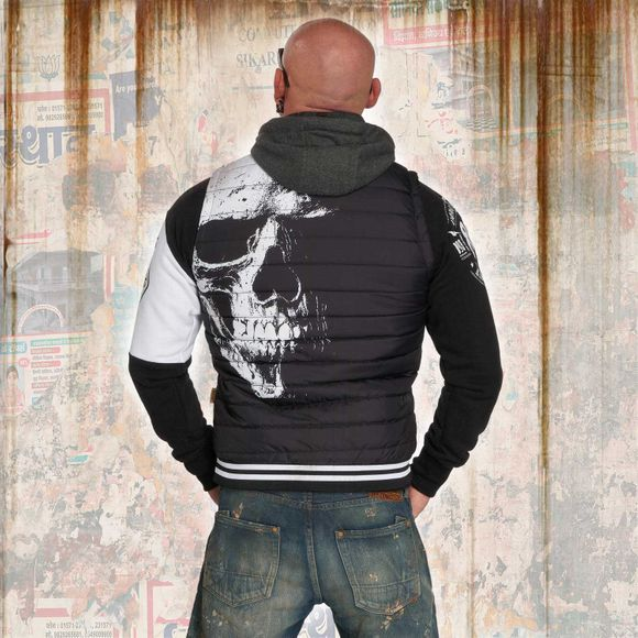 Skull Quilted Hooded Vest