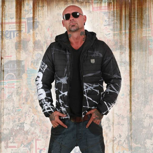 Barbwire Quilted Hooded Jacket